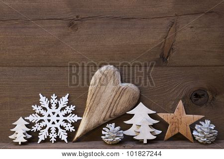 Rustic Christmas Decoration, Heart, Snowflake, Star, Tree