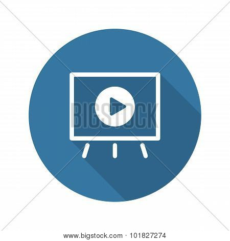 Video Presentation Icon. Business Concept. Flat Design.