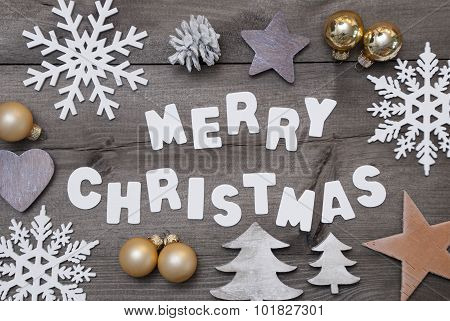 Wooden Background, Merry Christmas, Golden Decoration