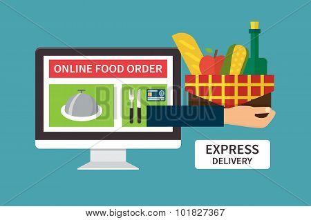 Food delivery, online internet order. Flat vector illustrations