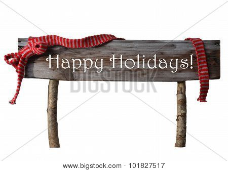 Brown Isolated Christmas Sign Happy Holidays, Red Ribbon