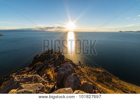 Setting Sun On Titicaca Lake, Copacabana, Bolivia