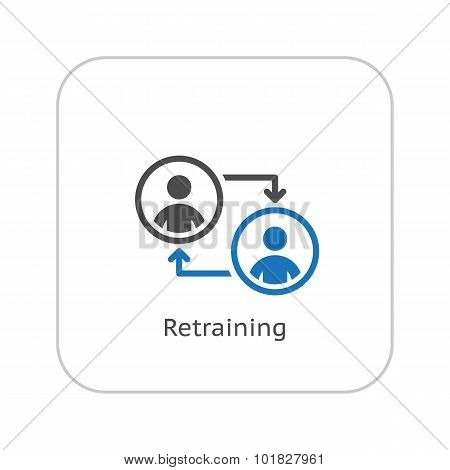 Retraining Icon. Business Concept. Flat Design.