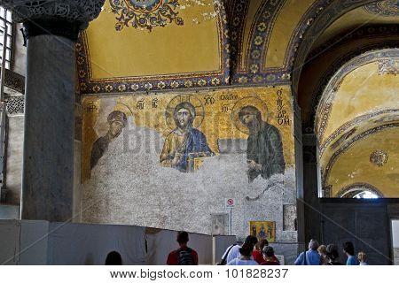 Jesus Christ Mosaic At Hagia Sophia