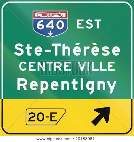 Highway Exit Sign In Canada