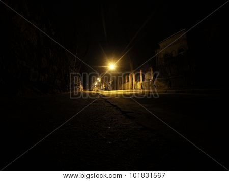 Night Street In Lviv