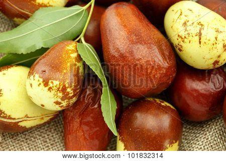Jujube Fruits With Leaves Closeup