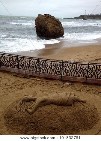 Sand Mermaid sculpture in Biarritz