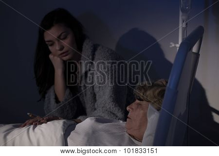 Daughter Worrying About Sick Mother