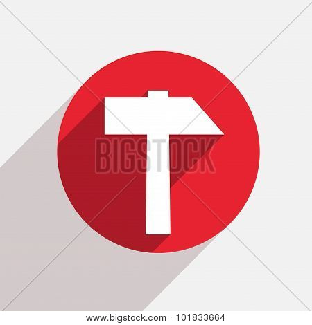 Vector modern hammer red circle icon