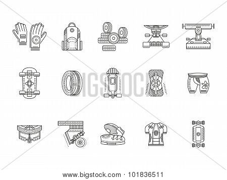 Longboarder accessories thin line vector icons
