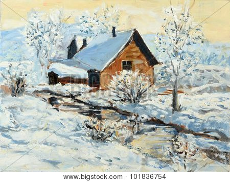 Oil painting of winter landscape with little house by the stream