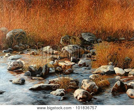 Landscape painting with rocks and bushes by the river