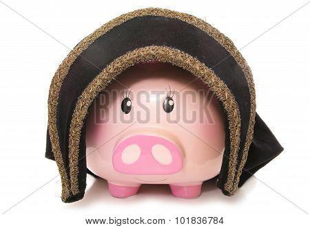 Piggy Bank Wearing A Tudor Hat