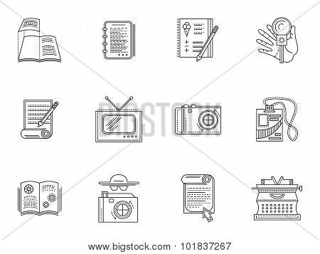 Thin line style journalism vector icons