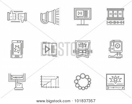 Thin line style video blogging vector icons