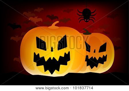 Two vector halloween pumpkins head isolated on dark background. Halloween party vector pumpkin. Pumpkin head, halloween symbols. Halloween pumpkin silhouette for halloween design. Halloween head
