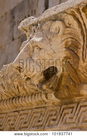 Bas Relief and Lion Head Figure, Baalbek, Lebanon, Middle East