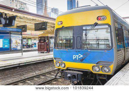 Train In The Platform Of Flinders Street Railway Station In Melbourne, Australia