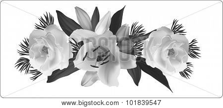 illustration with lily and rose flowers isolated on white background