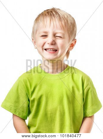 Happy blond boy blinking
