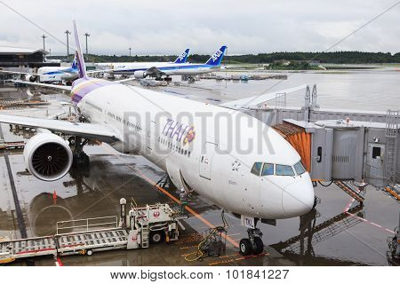 Tokyo Japan-september 10 : Thai Airways Plane Boeing 777-300 Er Checking Before A Flight In Narita A