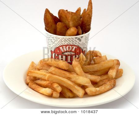 Deep Golden Fries And Potato Wedges