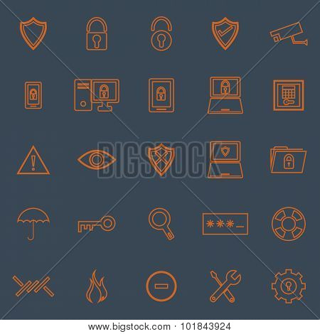 Security Line Color Icons On Grey Background