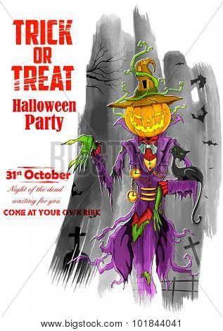 illustration of Halloween ghost with pumpkin head for party poster