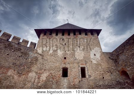 View of old Khotyn Fortress. Khotyn Fortress on Dniester riverside, Chernivtsi Oblast, Ukraine
