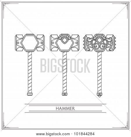 Fantasy Hammer Lineart