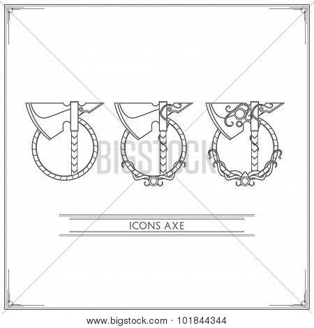 Icons Fantasy Axe Lineart