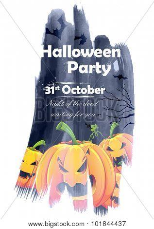 illustration of jack-o-lantern pumpkin in Halloween night