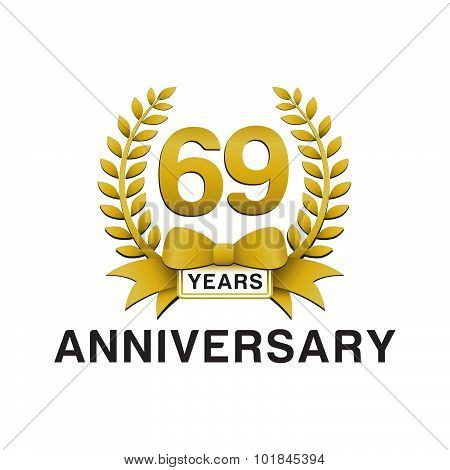 69th anniversary golden wreath logo