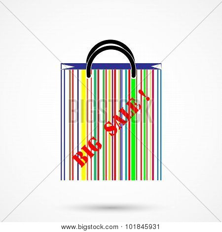 Creative abstract shopping bag logo design with barcode symbol.