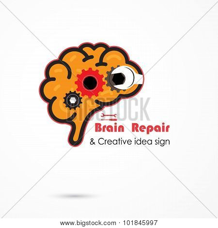 Creative Brain Repair Abstract Vector Logo Design Template. Generate Idea. Brainstorming Logotype Co