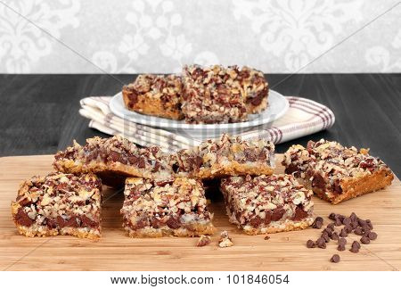 Chocolate Chip And Nut Cookie Squares.  Copy Space