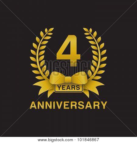 4th anniversary golden wreath logo black background