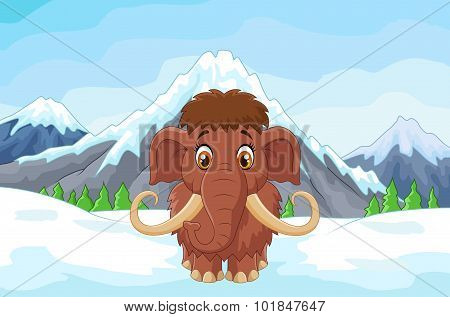 Cartoon mamouth in the ice mountain