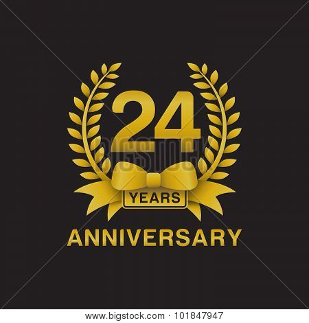 24th anniversary golden wreath logo black background