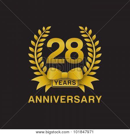 28th anniversary golden wreath logo black background