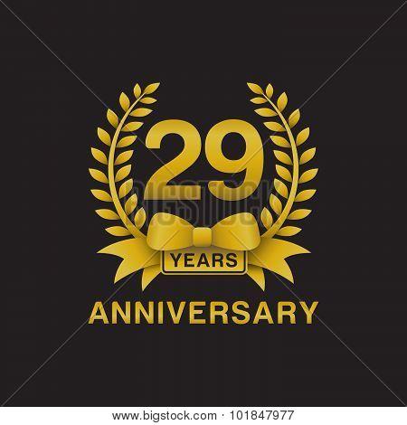 29th anniversary golden wreath logo black background