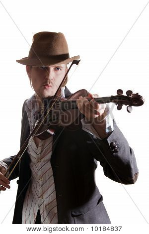 Young Violinist Playing The Violin In Hat And Jacket