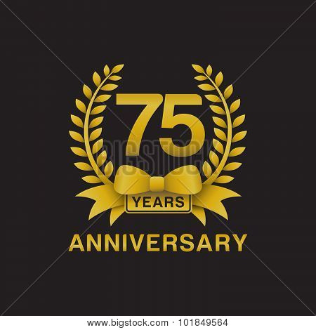 75th anniversary golden wreath logo black background
