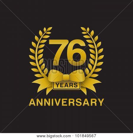 76th anniversary golden wreath logo black background