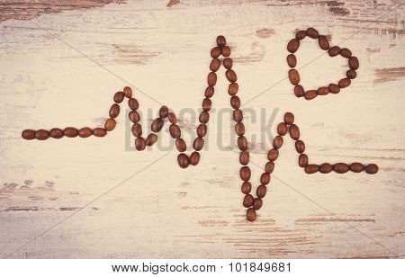 Vintage Photo, Cardiogram Line Of Roasted Coffee Grains, Medicine And Healthcare Concept