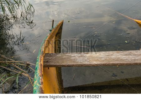 Largely Sunken Rowboat From Close