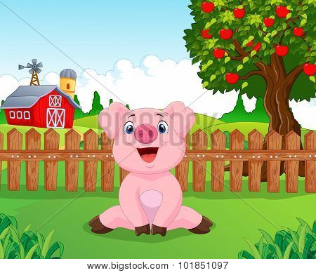 Cartoon adorable baby pig on the farm