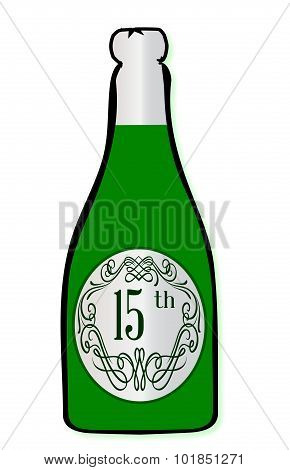15Th Celebration Wine Bottle