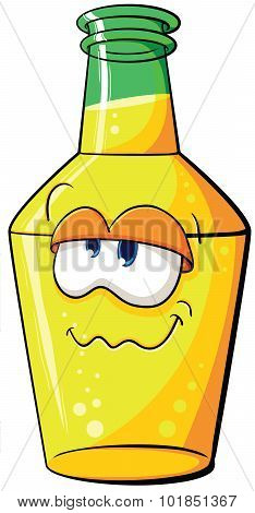 Illustration With Simple Gradients With The Image Of Cute Cartoon Bottle